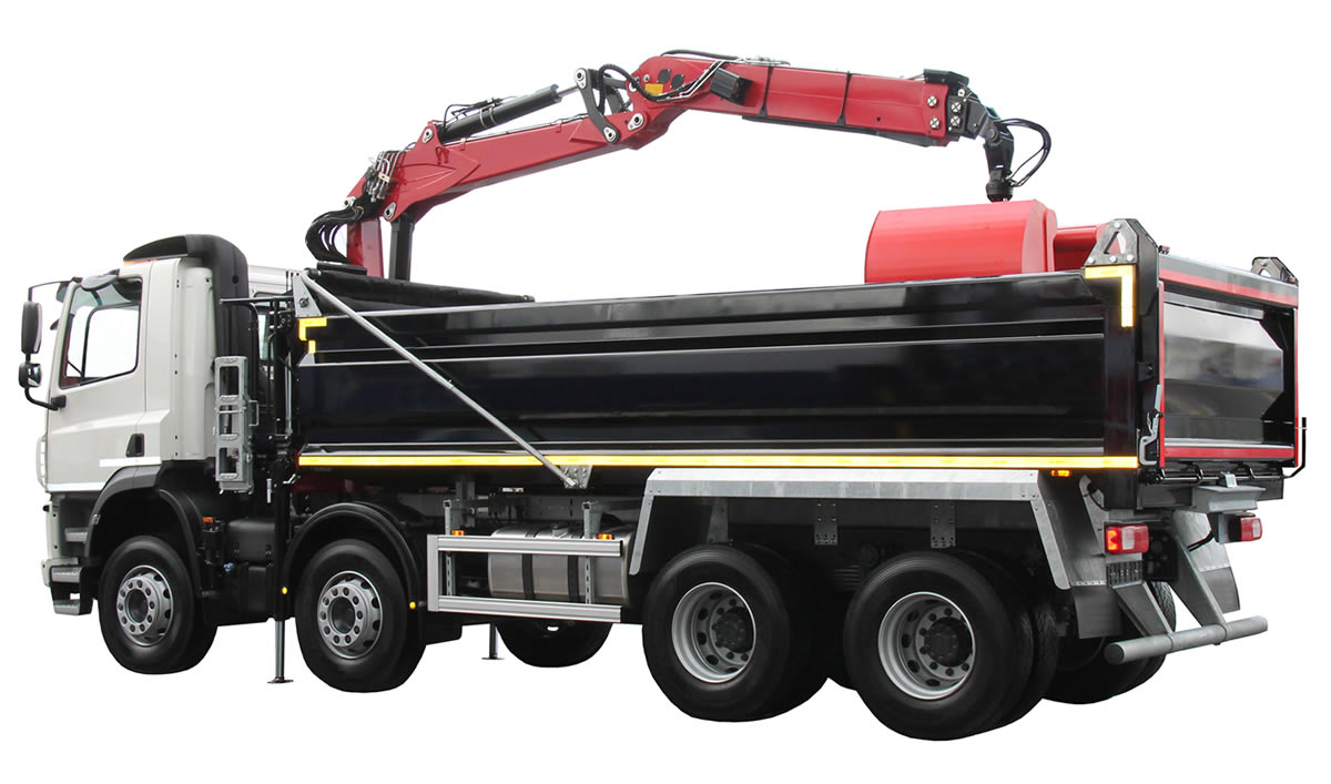 Large tipper lorry with grab